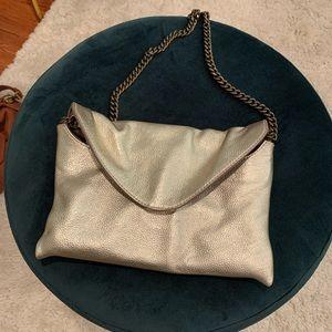 J.Crew - Gold metallic handbag with chain